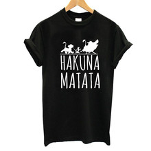 цена на ZOGANKI Hakuna Matata Letters Print Tee Shirt Summer Short Sleeve Tees Shirt Plus Size Women Casual Tops Tee Female T-shirts