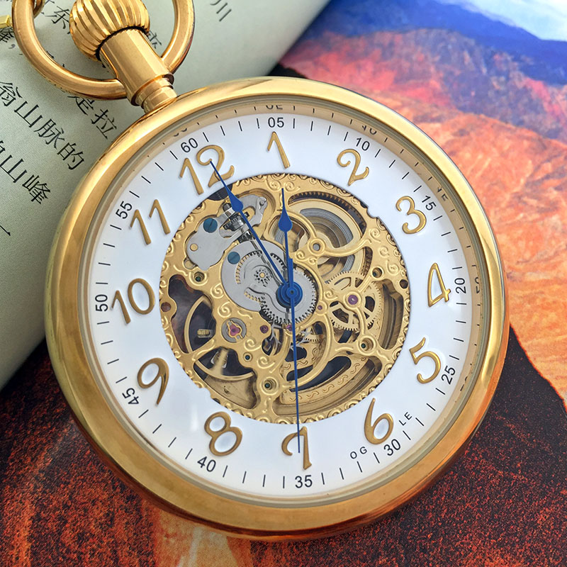 self winding watches men box promotion shop for promotional self ogle waterproof vintage gold stainless steel lagre calendar self winding automatic mechanical mens pocket watch chain gift box
