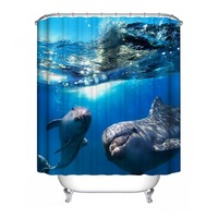 6 Types Polyester Waterproof Shower Curtain Sea Gull Bathroom Decorations Dolphin Blue Jellyfish Submarine Coral 2