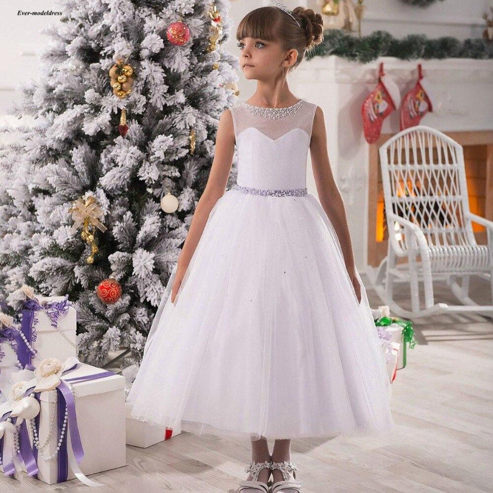 Lovely   Flower     Girls     Dresses   2019 A Line Ankle Length Tulle Beaded Sash O Neck Sleeveless First Communion   Dresses   Cheap