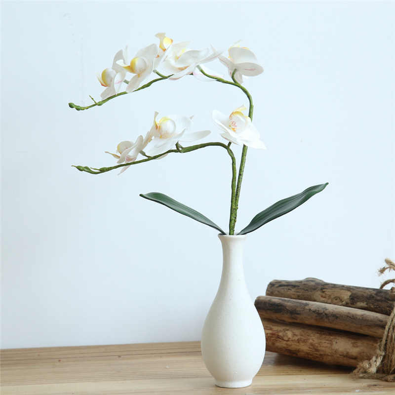 Real Touch Latex Phalaenopsis Flower Bridal Wedding Artificial Butterfly Orchid Silk Flower Bouquet Home Office Decor l1127