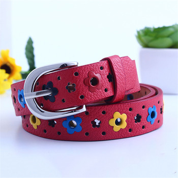 Children PU leather Belt Kids Hollow Butterfly Flowers Lace Boys and Girls  Leather Belts Women Waistband