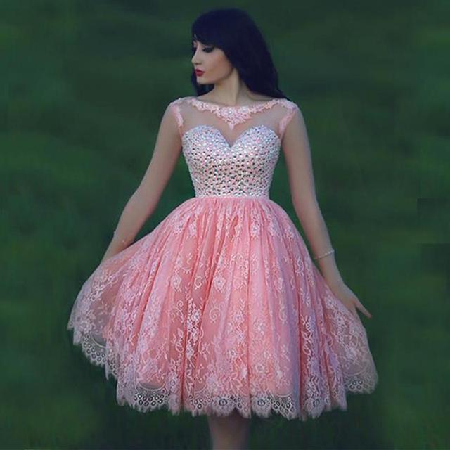 Elegantes Sheer Escote Crystal Baratos Vestidos de Fiesta Rosa ...