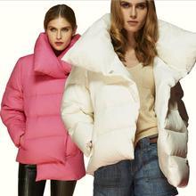 2016 новый 90% белая утка пуховик толстый пуховик плюс размер стиль хлеб асимметрия креативный дизайн зимнее пальто лацкан w838