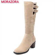 MORAZORA buckle punk fashion winter new arrive women shoes mid calf boots high square heels flock side zipper large size 43