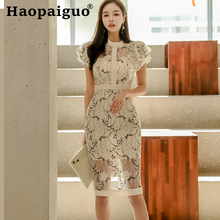 2019 Summer Print Floral Lace Dress Women O-neck Short Sleeve Wrap Midi Dress Women Corset Bandage Bodycon Women Dress Plus Size fashionable jewel neck figure floral print short sleeve dress for women