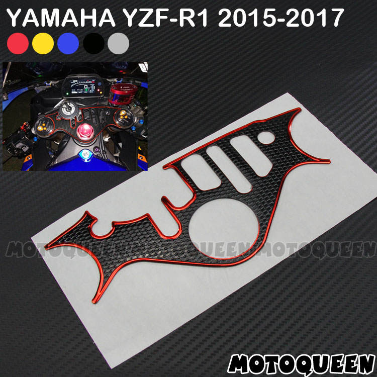 3D Motorcycle Decals Pad Triple Tree Top Clamp Upper Front End Waterproof Sticker For Yamaha YZF1000 R1 YZF-R1 15-17 2015 - 2017