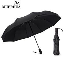 MUERHUA Big Black Wind Resistant Folding Automatic Umbrella Male Auto Luxury Windproof Umbrellas For Men Travel Rain 10K Parasol