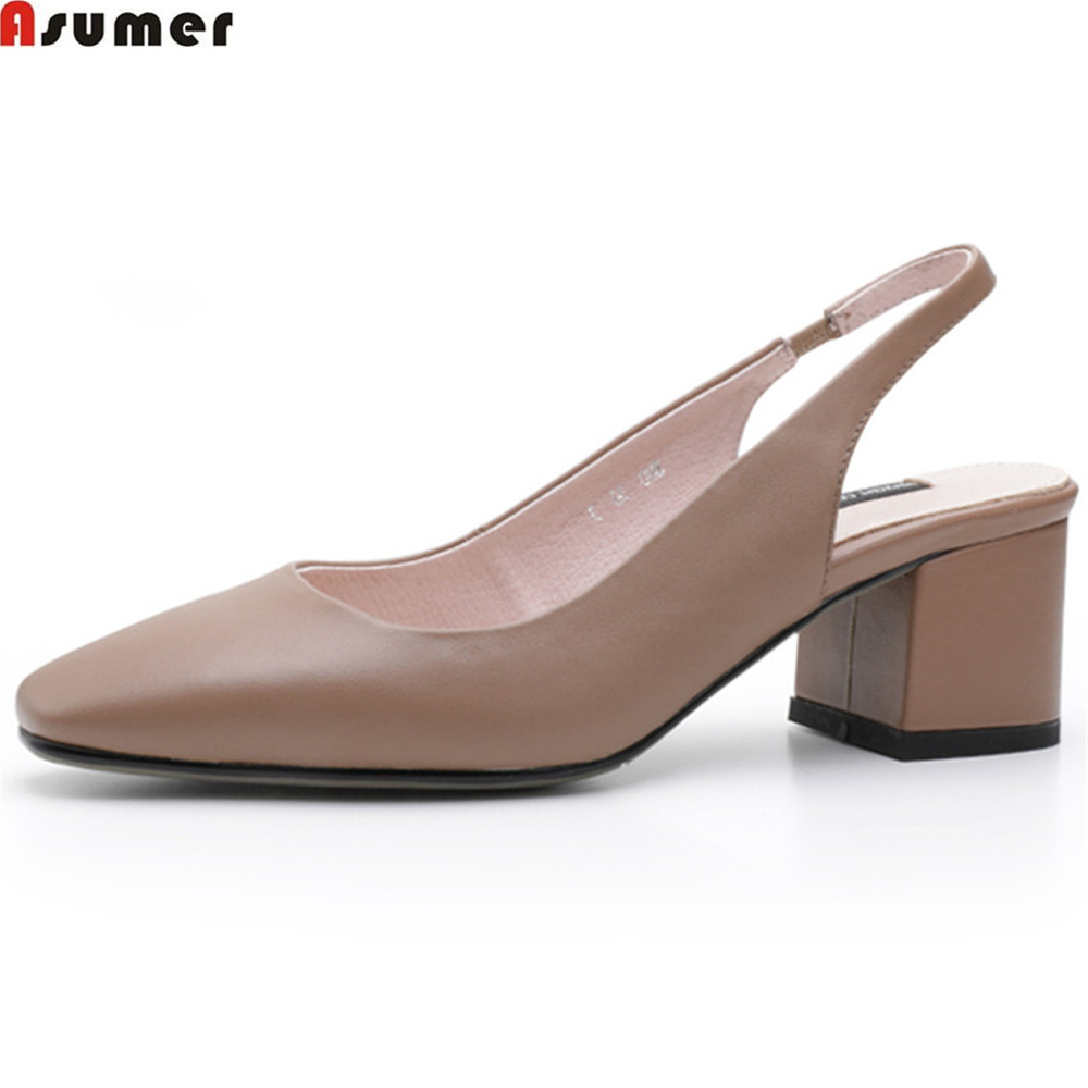 ASUMER black fashion spring autumn shoes woman square toe buckle square heel elegant women genuine leather high heels shoes asumer black beige pointed toe buckle square heel spring autumn shoes woman pumps elegant ladies high heels shoes size 33 46