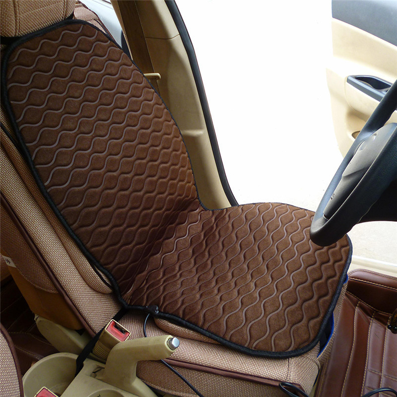 Car Electric Seat Cushion Brown Auto Single Seat Warmer Heating Pad Heated Mat Winter For Car