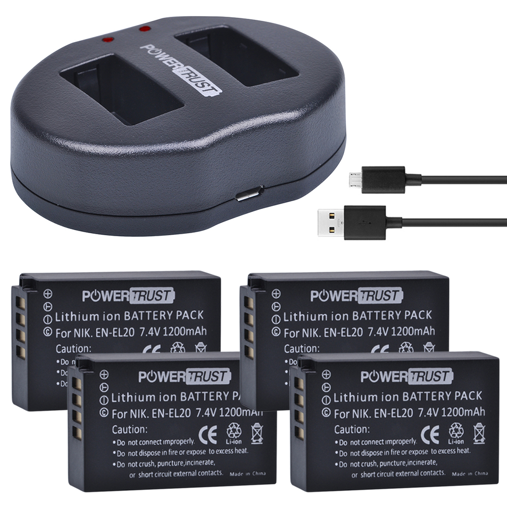 лучшая цена PowerTrust 4Pcs 1200 mAh EN-EL20 EN-EL20a EN EL20 battery + Dual USB Charger for NIKON 1 J1 J2 J3 S1 Camera