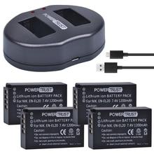 PowerTrust 4 pièces 1200 mAh EN-EL20 EN-EL20a EN EL20 batterie + Double Chargeur USB pour NIKON 1 J1 J2 J3 S1 Caméra
