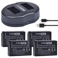 PowerTrust 4Pcs 1200 mAh EN EL20 EN EL20a EN EL20 battery + Dual USB Charger for NIKON 1 J1 J2 J3 S1 Camera