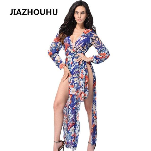a576c08277e11 US $24.08 |Floral Print Halter Chiffon Long Dress Women 2017 Deep V Neck  Vantage Fashion Maxi Dresses Sexy White Split Beach Summer Dress-in Dresses  ...