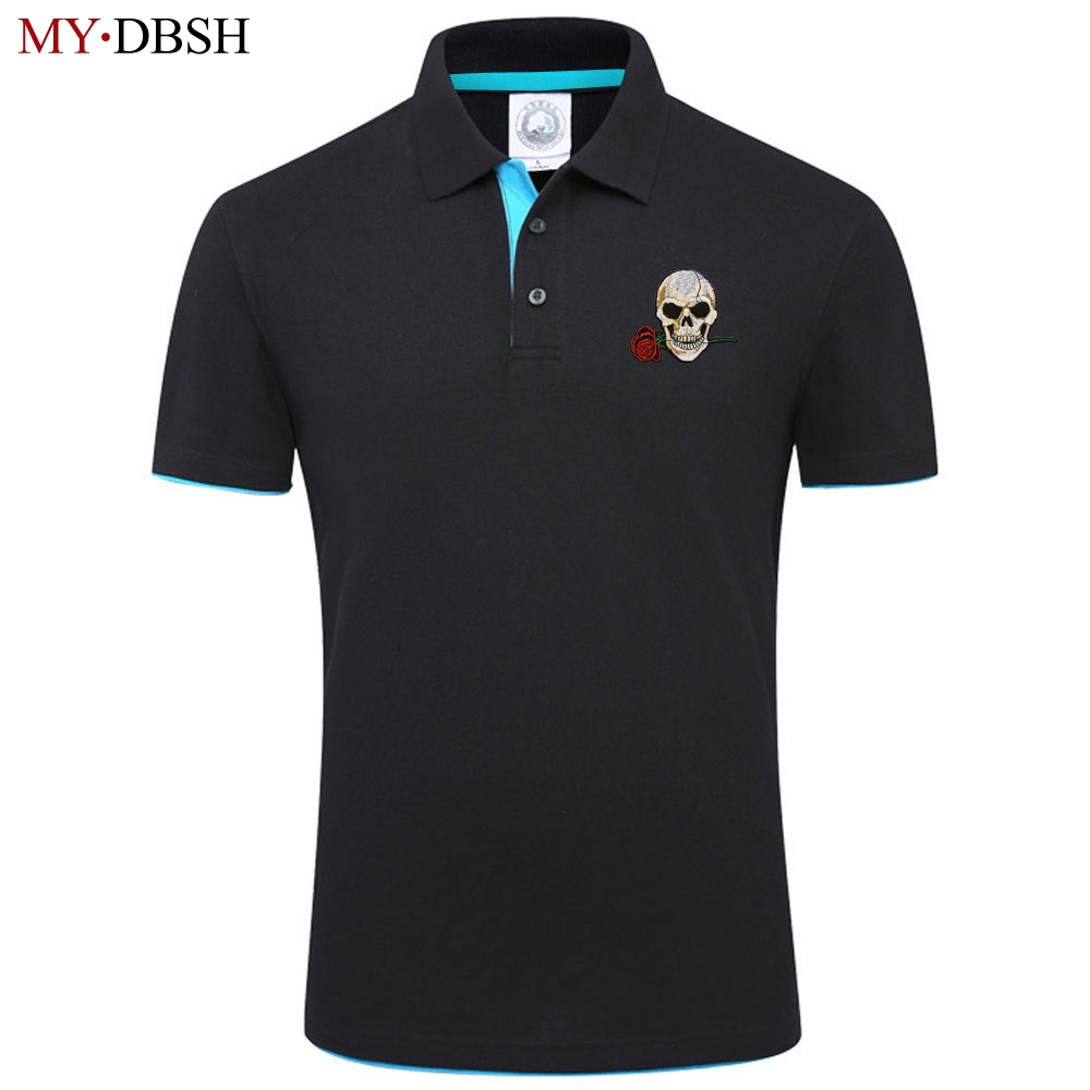 New Arrival 2018 Fashion Rose Skull Head Embroidery Men Polo Shirt Men Business & Casual Breathable Short Sleeve Polo Shirts