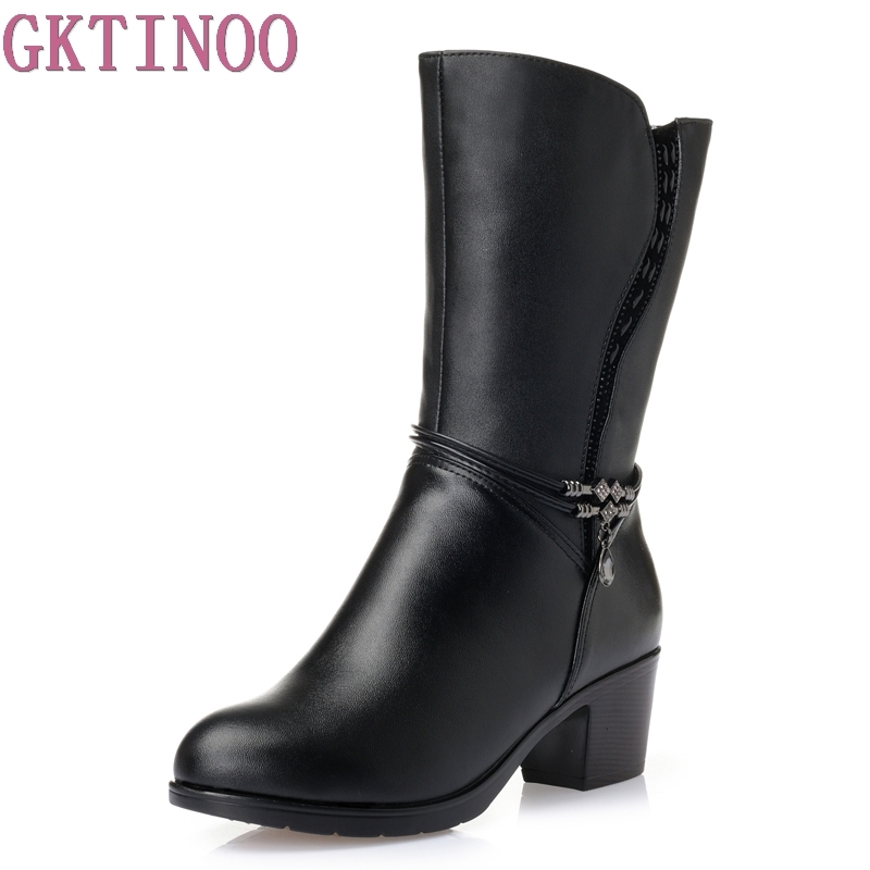 Winter Boots Wool Fur Inside Warm Shoes Women Genuine Leather Shoes Handmade High Heels Boots Footwear Botas Big Size 35-43