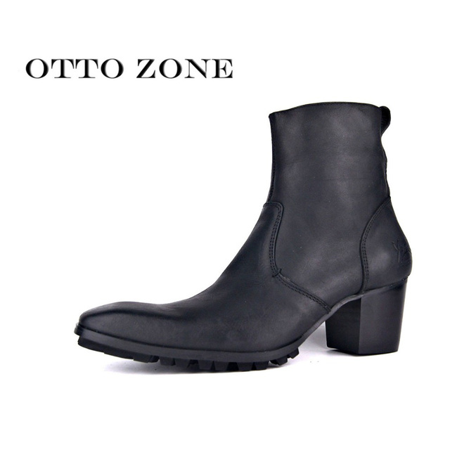 af0a89385 OTTO ZONE Men s Chelsea Boots Handmade Genuine Leather Ankle Boots Oxford  Casual Vintage Designer Casual Shoes PLUS SIZE Big