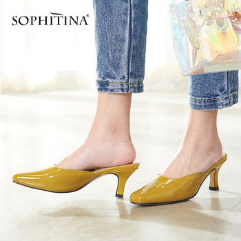 SOPHITINA Sexy Square Head Ladies Slippers Summer Outside Shallow Shoes Basic Casual Slip-On High Thin Heel Woman Slippers MO188