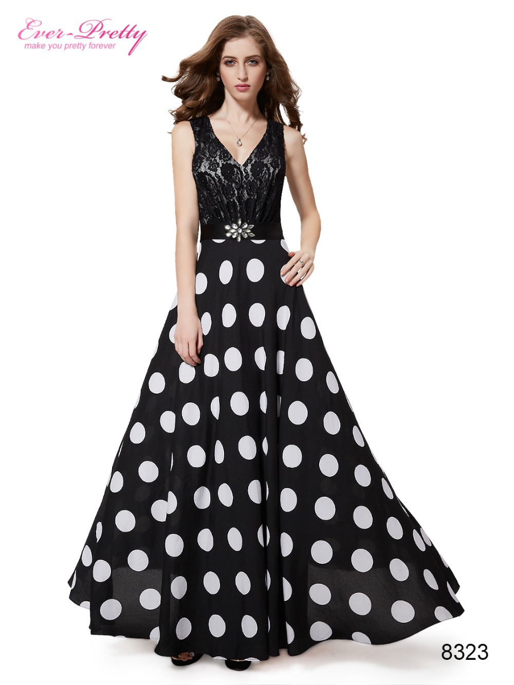 Maxi Long Formal Evening Dresses Ever Pretty HE08323BK Sexy V neck Black Lace Polka Dotted Special