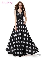 Maxi Long Formal Evening Dresses Ever Pretty HE08323BK Sexy V-neck Black Lace Polka Dotted Special Occasion Dresses