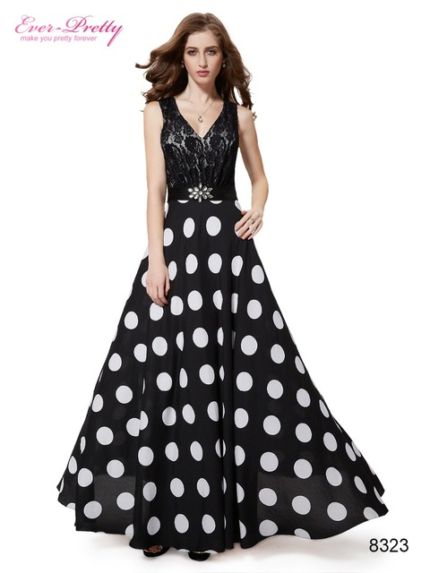 Black Polka Dot Evening Dress