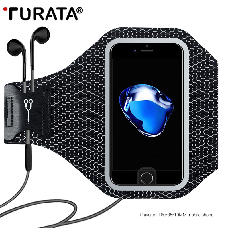 Turata Universal Sport Running Arm Band For iPhone 5 5S SE 6 6S 7 Plus Reflective Mobile Phone Holder Pouch Wallet Case T30
