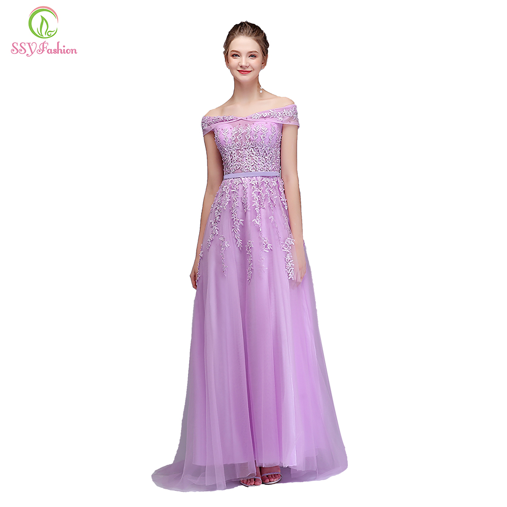 Clearance Sweet Lace Evening Dress The Banquet Elegant Lavender Tulle Appliques with Beading Floor length Formal