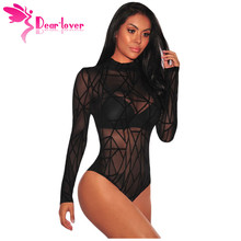 Dear Lover Bodysuit Long Sleeve Women Winter Black Sheer Mesh Geometric Velvet Body Suit Combinaison Femme Jumpsuit Romper 32166 недорого