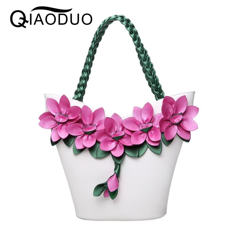 QIAODUO Bolsos Mujer Vintage Fashion Flower Bags For Women 2017 Knitting Luxury Handbags Women Bags Designer