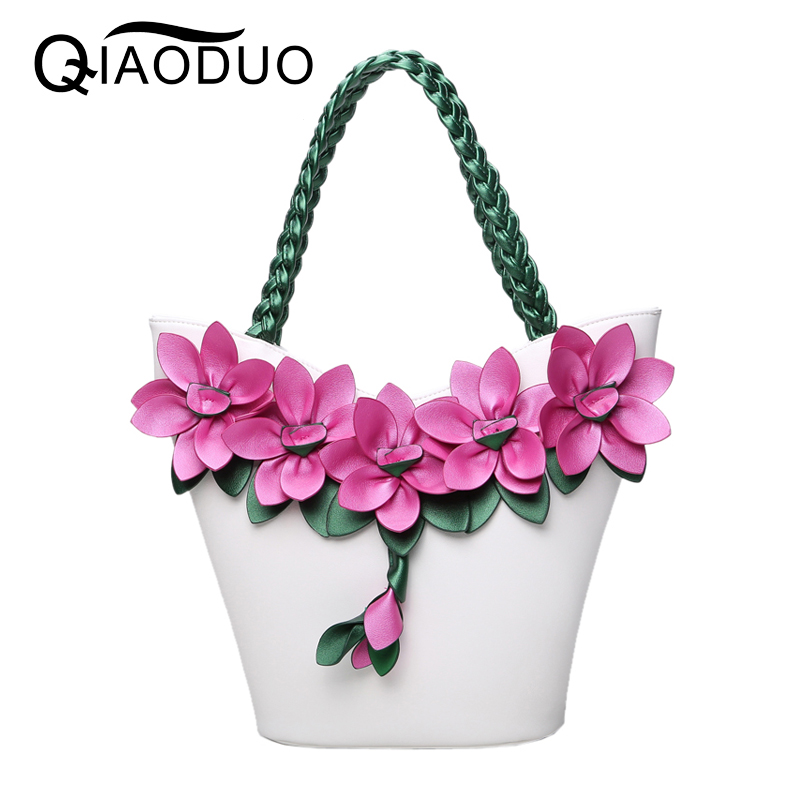 QIAODUO Bolsos Mujer Vintage Fashion Flower Bags For Women 2017 Knitting Luxury Handbags Women Bags Designer PU Leather HandbagsQIAODUO Bolsos Mujer Vintage Fashion Flower Bags For Women 2017 Knitting Luxury Handbags Women Bags Designer PU Leather Handbags