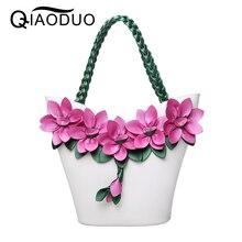 QIAODUO Bolsos Mujer Vintage Fashion Flower Bags For Women 2017 Knitting Luxury Handbags Women Bags Designer PU Leather Handbags