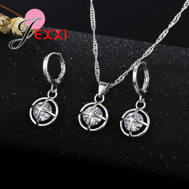 Free Shipping New Vintage Jewelry Sets Classic Round 925 Sterling Silver pearl Bijoux Pendant And Earrings Set