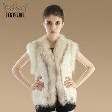2016 New Nature Knit Rabbit Fur Vest With Genuine Raccoon Fur Collar Jacket Real Rabbit Fur Waistcoat Fashion Women Warm Gilet
