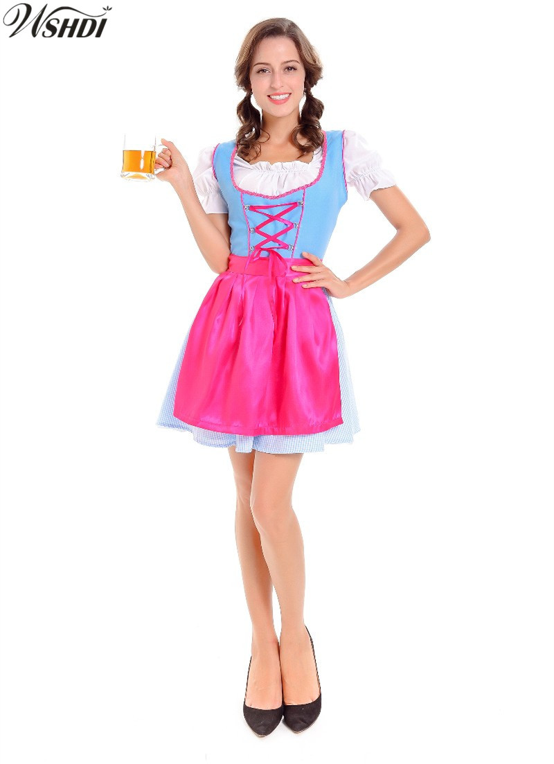 German Bavarian Beer Girl Costume Adult Female Oktoberfest Beer Maid Dirndl Wench Fancy Dress