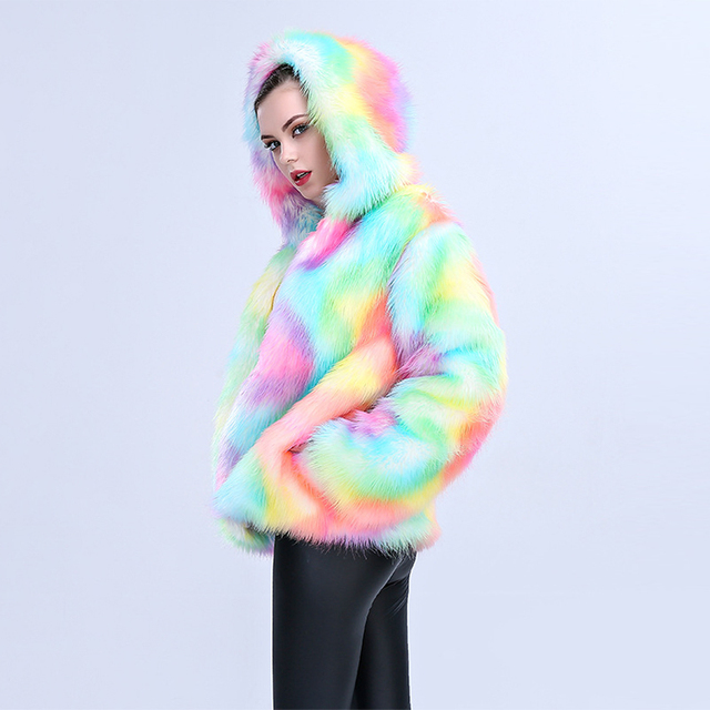 Colorful Artificial Fur Coat with Hooded 2
