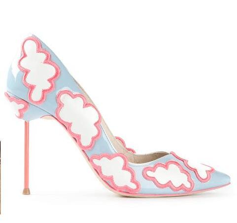 Free Ship Wholesale Blue White Cloud Patterned Pumps Pointed Toe Enchanting Patterned Heels