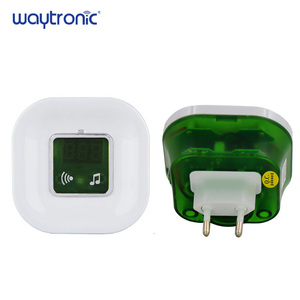 Image 4 - 220 فولت مقاوم للماء لاسلكي كهربائي دينغ دونغ جرس الباب مع درجة الحرارة شاشة ديجيتال زر الجرس الكبير