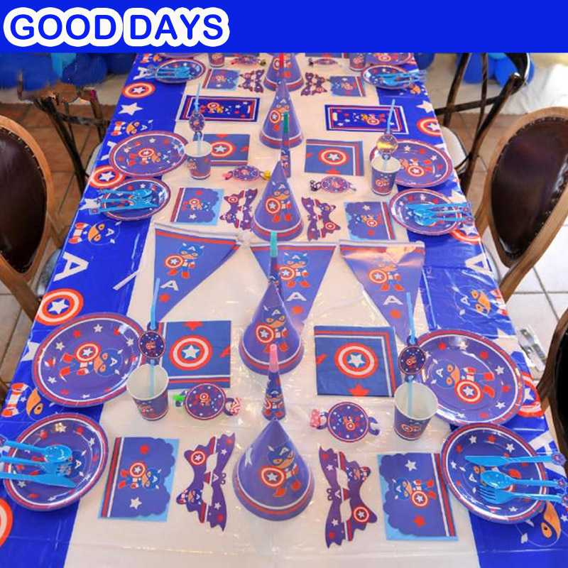 90pcs/set Captain America Cartoon movie kids happy birthday party decoration plate cup straw loot bags for 6people party supplie