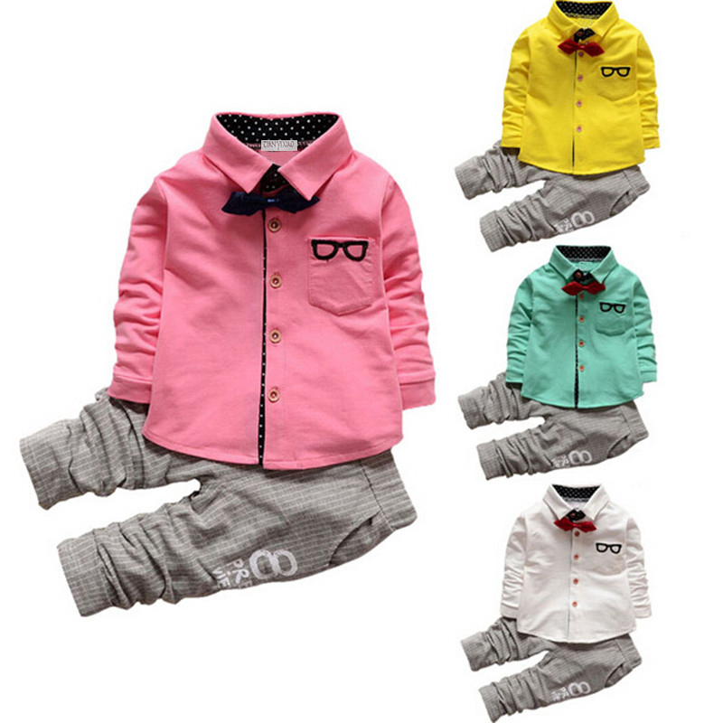 2017 New pring Autumn baby boys kid suit set long sleeve children T-shirt+pants 2pcs sets kids clothing set gentlemen style