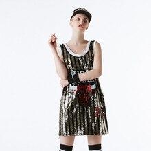 2019 New Women Long Sequin T Shirt Casual Jazz Cheerleaders Dance Costume Modern Hip Hop DS Performance Mini Dress