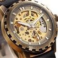 Как Кожаный Ремешок Бронза Латунь Автоподзаводом Механические Наручные Мужские Часы Лучший Бренд Luxry Подарок Для Мужчины Бизнес Платье