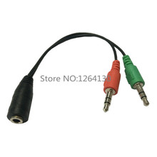 3.5mm 2 in 1 Microphone Headphone adapter for Skype PC laptop Mac