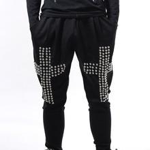 Plus Size 27-42 men's Hiphop torusers ds dj clothes bloomers male singer fashion costume cross rivets harem pants stage wear
