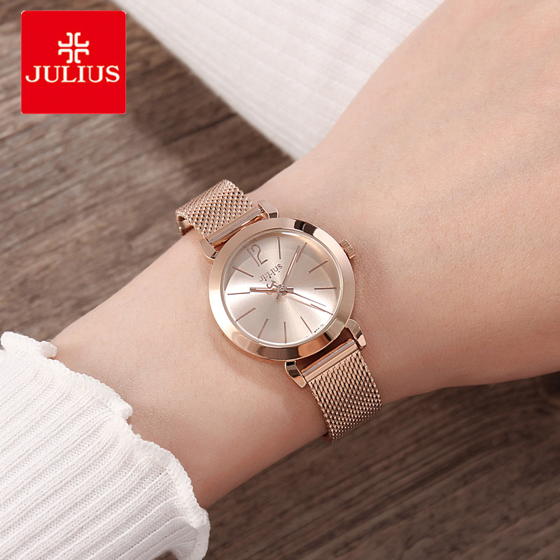 Julius Women Watches Silver Rose Gold Tone Mesh Stainless Steel Quartz Analog Waterproof Watch Casual Female Clock Montre Femme gnova platinum women stainless steel silver gold mesh watch unique simple watches casual quartz wristwatches clock