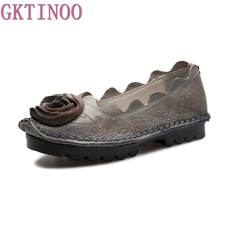 GKTINOO Spring And Autumn Women Flats 2018 Fashion Genuine Leather Flat Shoes Woman Soft Casual Loafers Women Shoes 2018 new women s shoes spring autumn fashion loafers women flats genuine leather single shoes soft casual flat shoes size 43 44