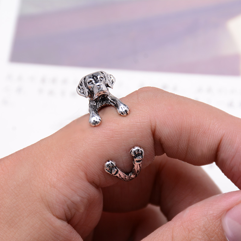 Hot Selling Vintage Dachshund Dog Ring Jewerly Gun Black / Antique Silver / Antique Bronze Sausage Dog Ring Womens Pug Jewelry