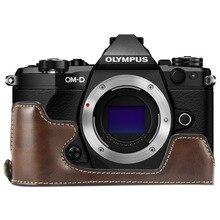 Limitx pu 가죽 케이스 하단 개방 버전 olympus omd em5 OM D E M5 mark ii 2 카메라 용 보호 하프 바디 커버베이스
