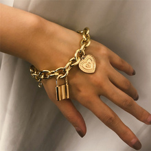 2019 Fashion Lover's Lock Pendant Bangle Bracelets Alloy Carved Heart Thivk Chain Bracelet Couple Jewelry Gif faux turquoise carved alloy bracelet