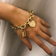 2019 Fashion Lover's Lock Pendant Bangle Bracelets Alloy Carved Heart Thivk Chain Bracelet Couple Jewelry Gif classic english word carved heart pendant bracelet for women