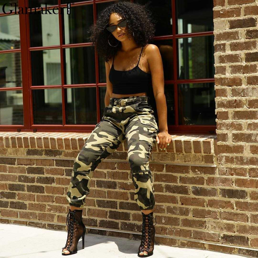 b10f4cc98eb Glamaker Camo high waist women cargo pants Casual female cotton sexy  fitness pants Winter skinny bottom